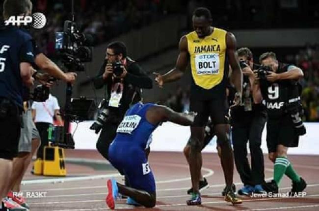 Athlétisme: Gatlin s'incline devant Usain Bolt, battu pour sa dernière course