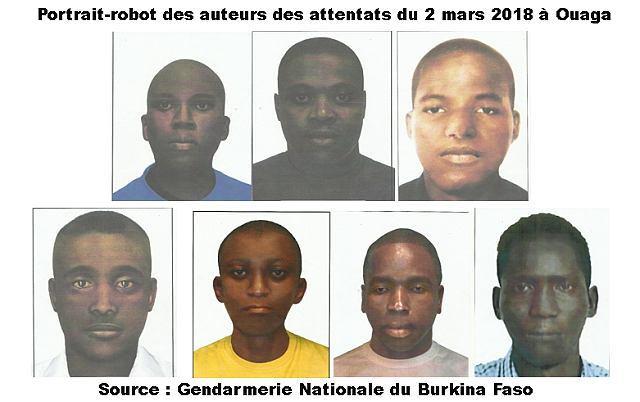 Portrait-robot des auteurs des attentats du 2 mars 2018 à Ouagadougou