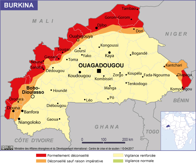 Burkina: l'ambassade de France met en garde ses ressortissants