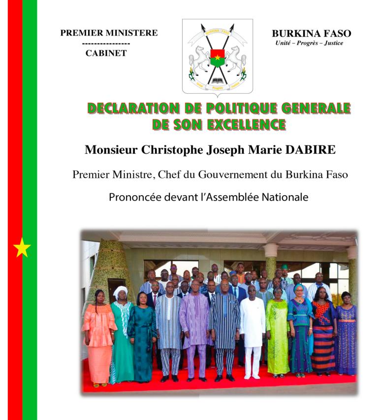 Burkina:  l'intégralité de la Déclaration de politique générale