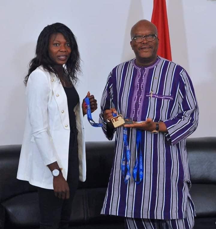 Audience : l'athlète Marthe Yasmine Koala reçu par le Président du Faso à Bobo