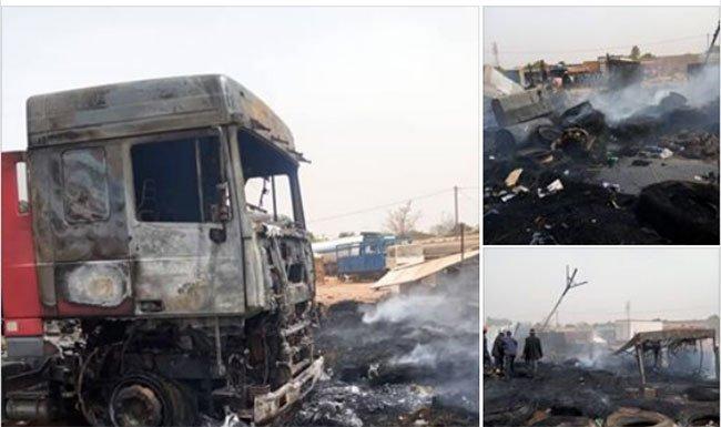 Ouagadougou: 3 camions et un stock de pneus complètement en flamme au quartier Tampouy